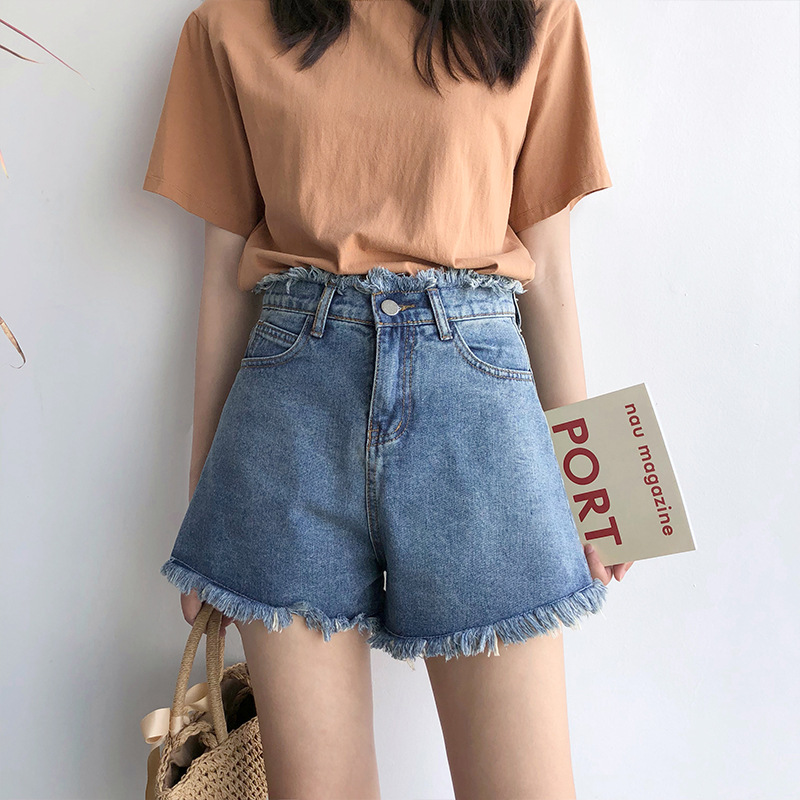 2019 Summer New Style Large Size Denim Shorts Women's Loose-Fit High-waisted Wide-Leg Korean-style Large GIRL'S Students Hot Pan