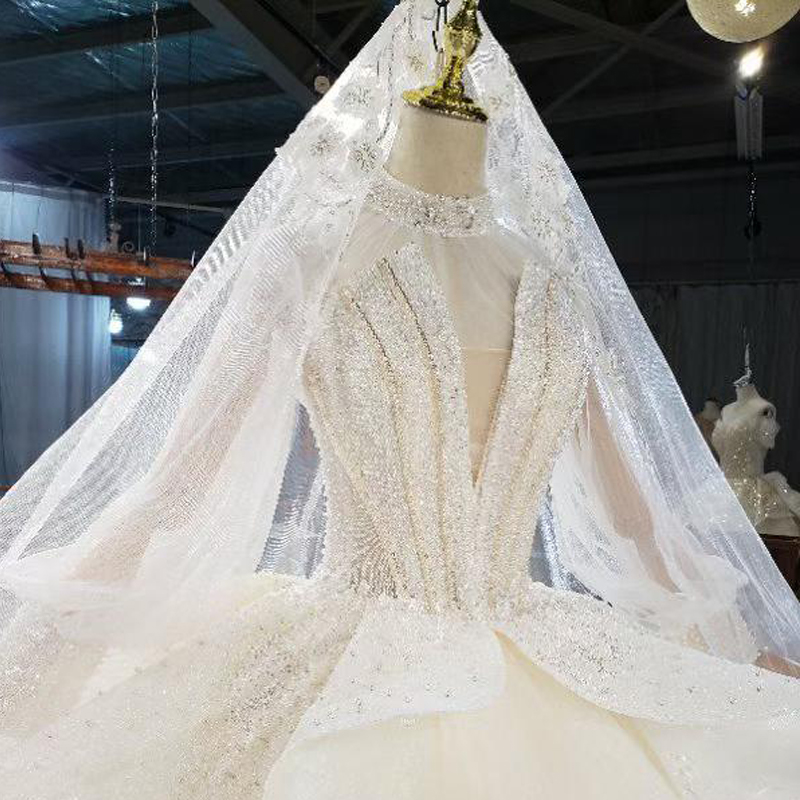 HTL1822 Sequined Beading Wedding Dress 2020 High Neck Long Puff Sleeve Tulled Lace Up Back Applique Ball Gowns 5