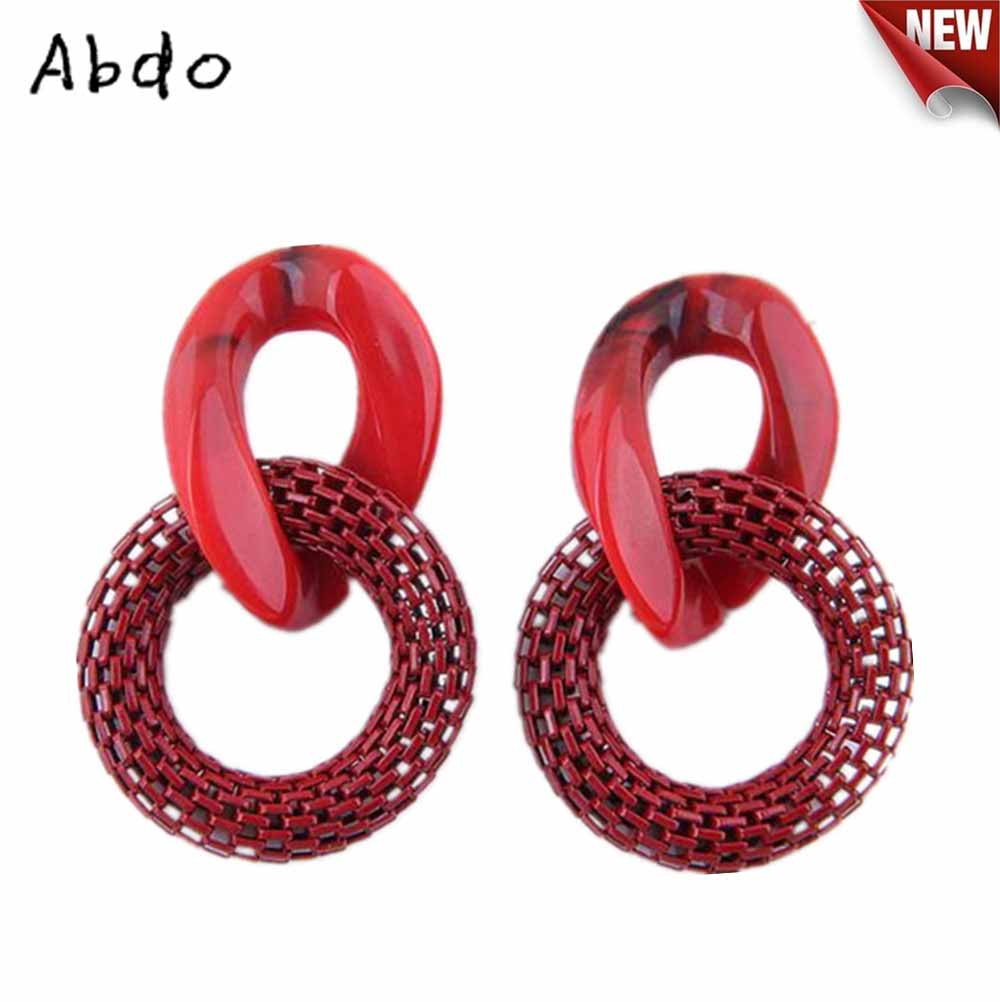 New Round Acrylic Mesh Dangle Earrings For Women Fashion Leopard Print Long Punk oorbellen Hot Sale Top Quality Pendant gifts in Drop Earrings from Jewelry Accessories