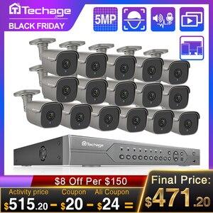 Image 1 - H.265 16CH 5MP 4K HD POE طقم NVR نظام الدائرة التلفزيونية المغلقة الأشعة تحت الحمراء في الهواء الطلق اتجاهين الصوت AI IP كاميرا P2P مجموعة مراقبة الأمن الفيديو 2 تيرا بايت HDD
