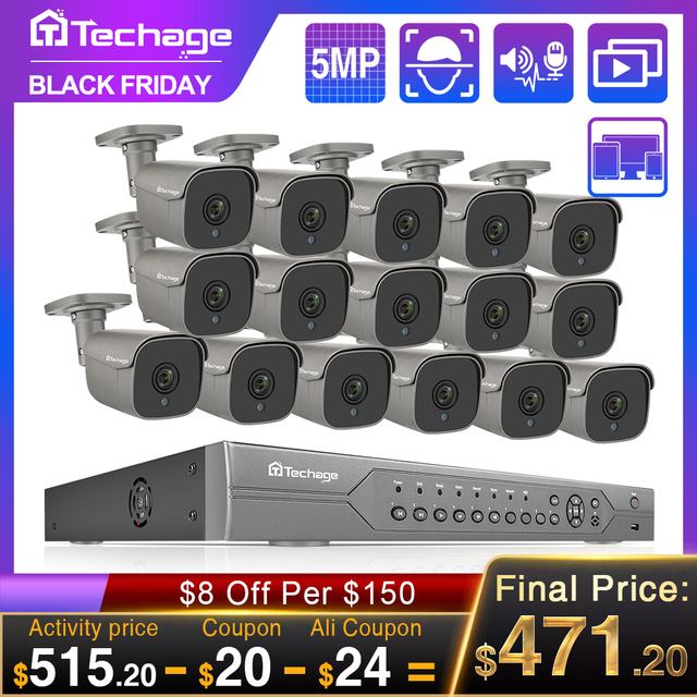 H.265 16CH 5MP 4K HD POE طقم NVR نظام الدائرة التلفزيونية المغلقة الأشعة تحت الحمراء في الهواء الطلق اتجاهين الصوت AI IP كاميرا P2P مجموعة مراقبة الأمن الفيديو 2 تيرا بايت HDD