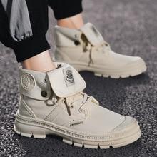 лучшая цена Men Shoes Leisure Martin Boots Autumn 2019 Air-permeable Casual Shoes Men High Top Canvas Desert Boots Men