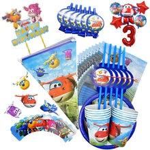 Superalas cumpleaños materiales de decoración para boda avión desechables taza platillo tejido paja niños ducha fiesta