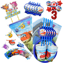 Super Wings Birthday Wedding Party Decoration Supplies Airplane Disposable Cup Saucer Tissue Straws Children Shower Party