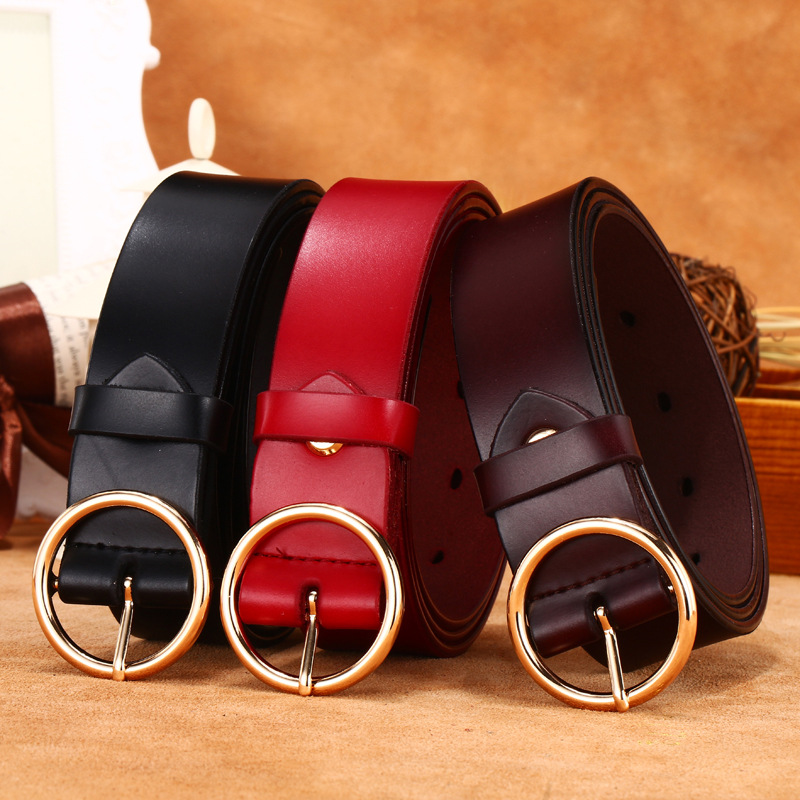 Hot Selling Women's Korean-style Jeans Accessories Genuine Leather Wide Belt Gold Round Buckle Cowhide Belt Women's Fashion