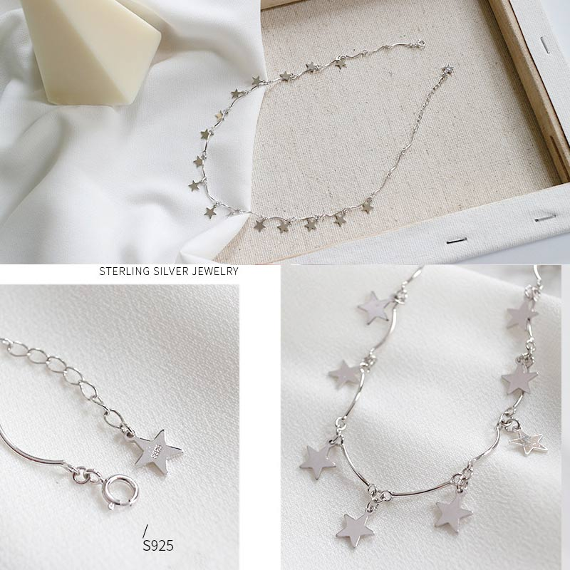 Silver Necklace 925 Star Necklace For Women Fine Jewelry Charm Choker Handmade Gift bijoux femme