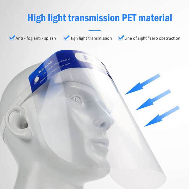 2/5/10pcs Protective Face Shield Reusable Full Face Protective Mask Splash-Proof eye safety Saliva Protection Clear Visor 1