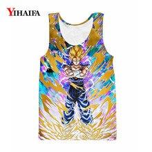 все цены на 3D Print Vest Mens Gym Tank Top Dragon Ball Z Space Galaxy Super Saiyan Anime Sleeveless Unisex Hip Hop Summer Tank Tops онлайн