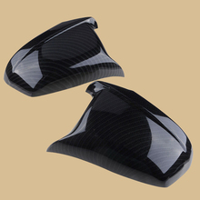DWCX 2pcs ABS Carbon Fiber Style Black Car Door Side Wing Rearview Mirror Cover Cap Fit For BMW F10 F11 5 Series 2011 2012 2013