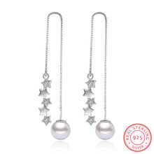 925 Sterling Silver Earrings 5 pcs Star Zirconia Simulated Pearl Long Tassel Earrings Ear Line pendientes brincos S-E270(China)