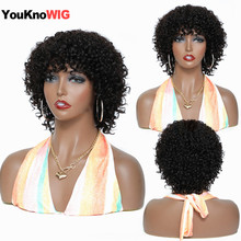 Short Curly Wigs With Bangs For Black Women Cheap Pixie Cut Human Hair Wigs Non Lace Wig Machine Made Natural Brazilian Hair