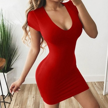 Sexy Dress for Club Above Knee Solid S-xxl Size Dress for Summer 2