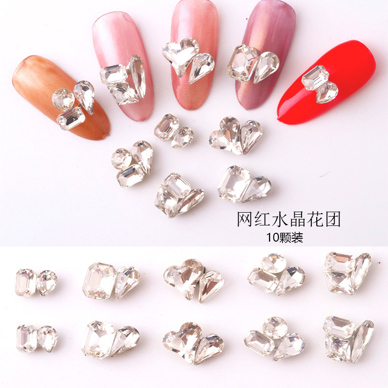 New Style Nail Ornament Flowers Shaped Diamond He Jin Zuan Symphony Pearl Horse Eye Sequin Nail Polish Stickers Drill