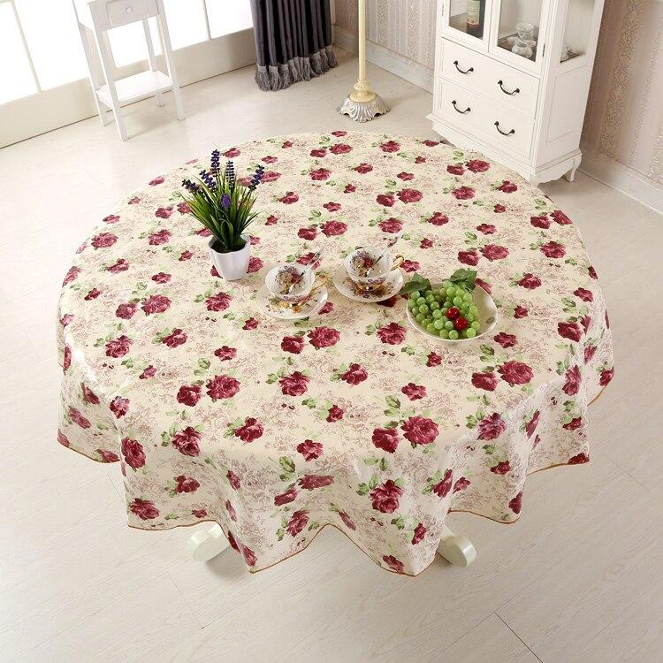 Mantel de tela de mesa a prueba de agua mantel redondo con flores de PVC para comedor de cocina Tischdecke tafelkleed manteles JH6
