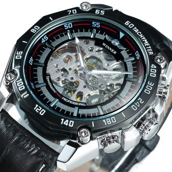 Skeleton Watch For Men Mens Watches Top Brand Luxury 2020 Automatic Mechanical Wrist Watch Male Big Dial Leather Reloj Hombre winner automatic original watch men s skeleton skull dial mechanical military wrist watch gold watches for men men s wrist watch