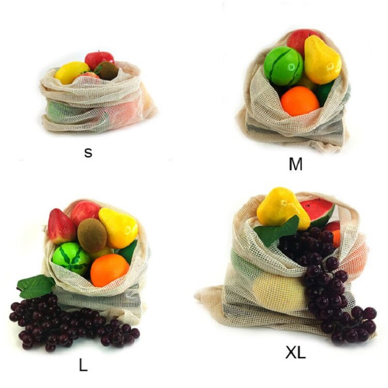 Reusable Cotton Mesh Produce Bags for Vegetable Fruit Kitchen Washable Storage Bag With Drawstring 4 Sizes Avilable