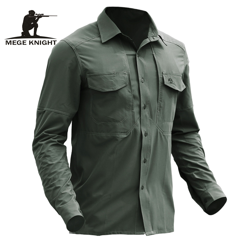 Mege Brand Spring Tactical Clothing Military Army Shirt Multi Pockets Fast Dry Breathable Casual Combat Shirt Dropshipping
