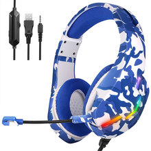 Wired Head-mounted Headset J10 3.5mm Gaming Colorful Glow RGB LED Light Headphones with Microphone PS4 Laptop Tablet Headsets