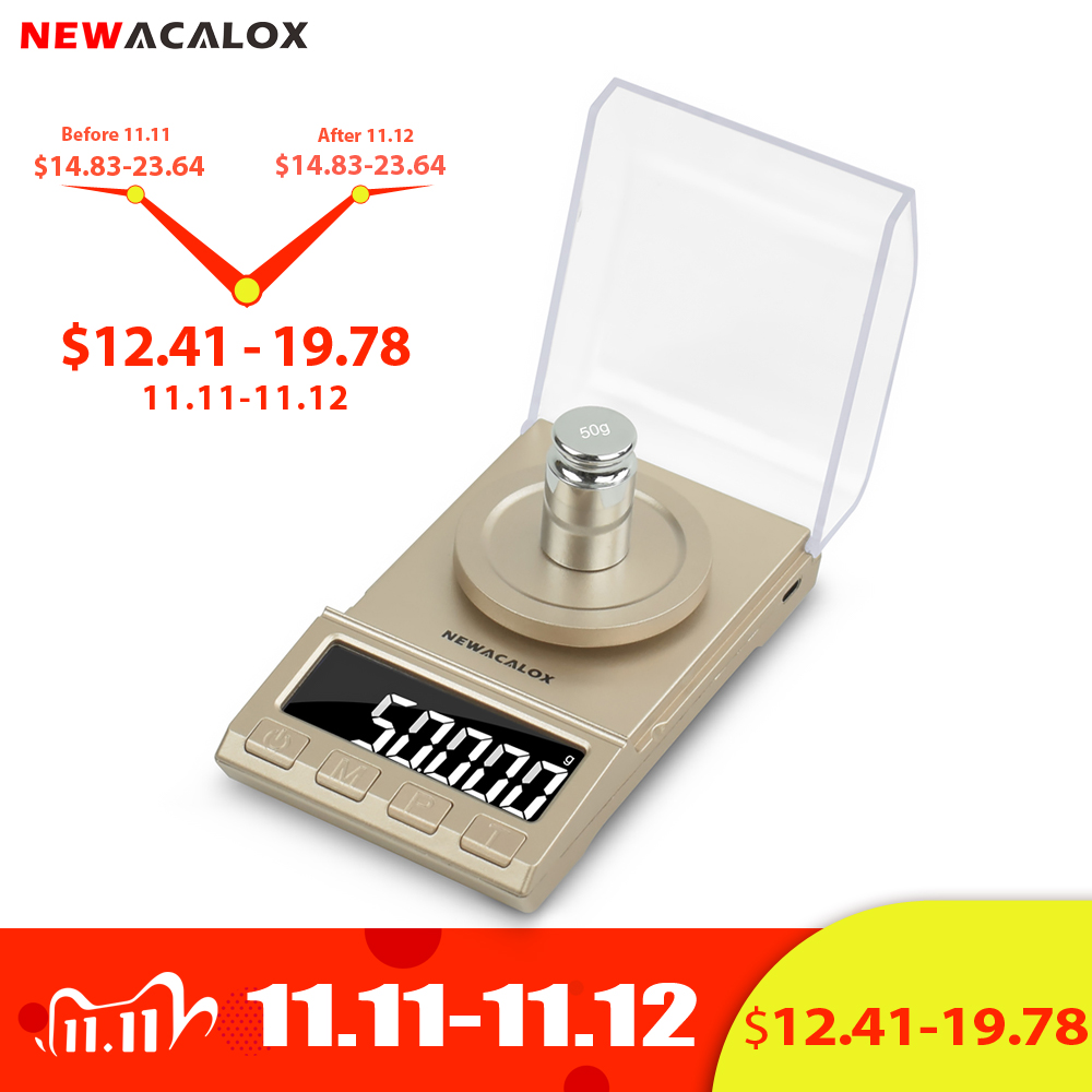NEWACALOX 0.001g Precision Digital Jewelry Scale 50g/100g/200g USB Powered Electronic Weighing Scale LCD Mini Lab Balance 0.001g|Weighing Scales| - AliExpress
