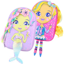 Kawaii kalem kutusu okul kızlar için karikatür mermaid bebek kalem kutusu gerçekçi modelleme yaratıcı kırtasiye kutusu okul malzemeleri