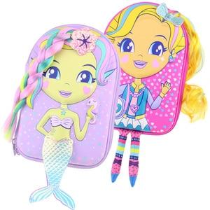 Image 1 - kawaii Pencil case school for girls cartoon mermaid doll pen box realistic modelling creative stationery box school supplies