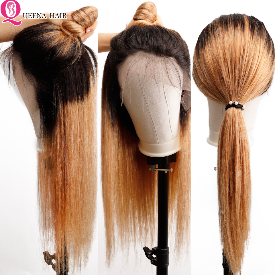 Queena 1B/27 Ombre Lace Front Human Hair Wigs With Baby Hair Blonde Straight Peruvian Front Lace Wigs PrePlucked13*4 Clouser Wig
