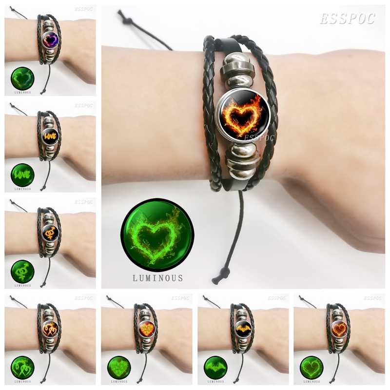 Fashion Men Women Fire Heart Luminous Glass Cabochon Button Black Leather Woven Bracelet for Couples Valentine's Day Gifts