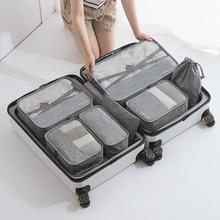 7 pièces/ensemble hommes sacs de voyage vêtements chaussures sous vêtements organisateur de valise cosmétiques sac à fermeture éclair garde robe polochon bagages accessoires