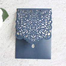 Navy blue wedding invitations rose laser diamond decor rustic invite pocket 50pcs