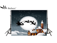 Beebuzz Photo Background  Christmas Night The Elk Pulled The Sled Christmas Backdrop starry night christmas sled patterned wall stickers