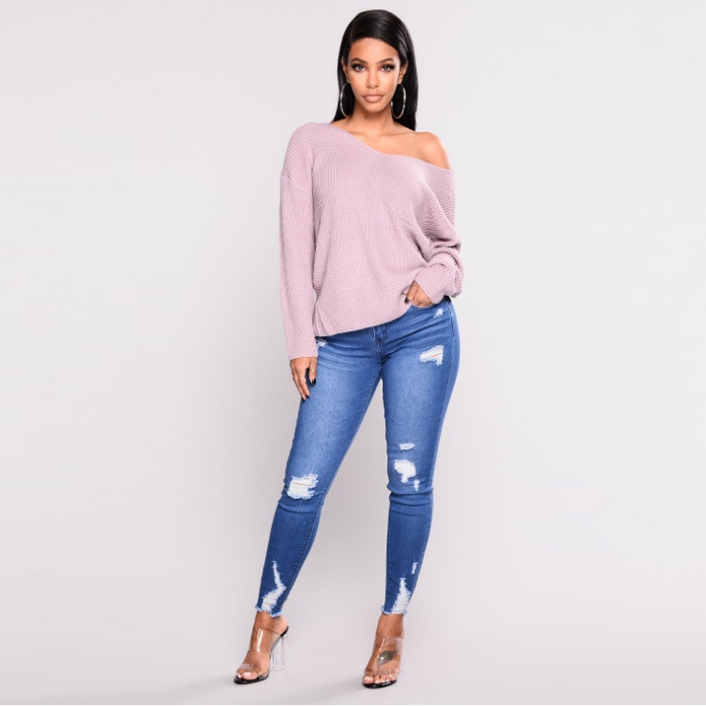 Skinny Jeans Woman Mid Waist Long Solid Button Fly Zipper Pocket Hole Fashion Casual Stretch Denim Pants Jeans Mujer 3XL OY41*