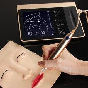 Image 4 - Yeni dokunmatik ekran kalıcı makyaj makinesi seti kaş dudak Eyeliner için makinesi ile 50 adet kartuş Neeldes şarj edilebilir pil