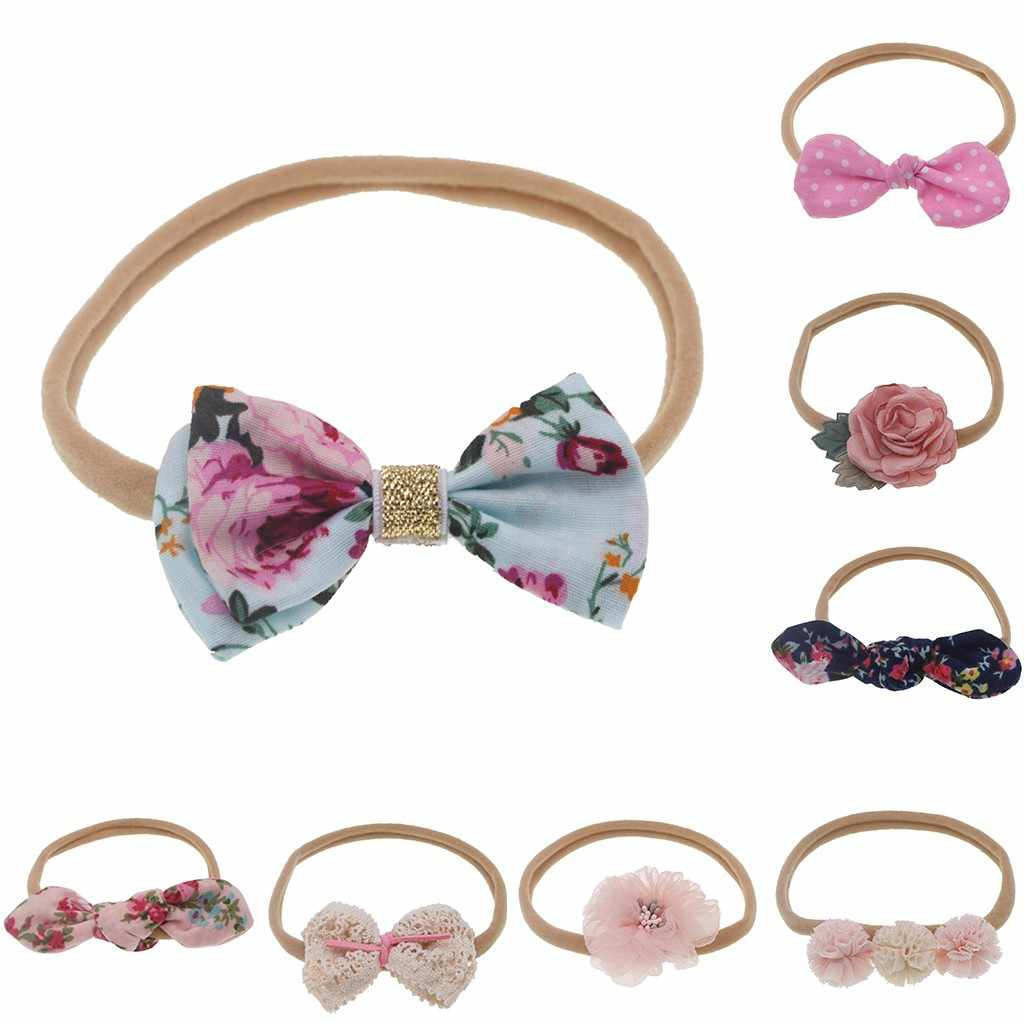 Lovely Printed Floral Fabric Bow Headband nylon Bowknot Elastic Nylon Hair Band For Girl Children Soft Headwear Hair Accessories