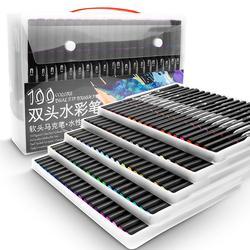 100 cor marcadores de aquarela para pintura de desenho conjunto profissional água coloração escova caneta conjunto ponta dupla para escola arte suprimentos