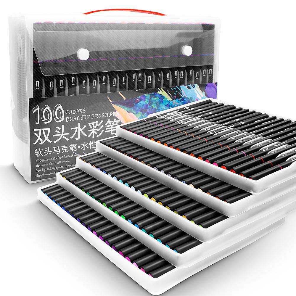 48/60/72/100 ألوان مائية علامات لرسم مجموعة أدوات رسم المهنية المياه تلوين فرشاة مجموعة أقلام طرف مزدوج للمدرسة