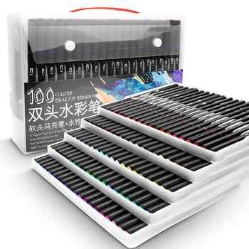 48/60/72/100 farbe Aquarell Marker für Zeichnung Malerei Set Professionelle Wasser Färbung Pinsel Pen-Set Dual Tip für Schule