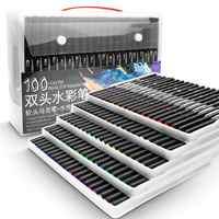 48/60/72/100 rotuladores de acuarela de Color para dibujar, juego profesional de pinceles para colorear con agua, juego de pinceles de doble punta para la escuela