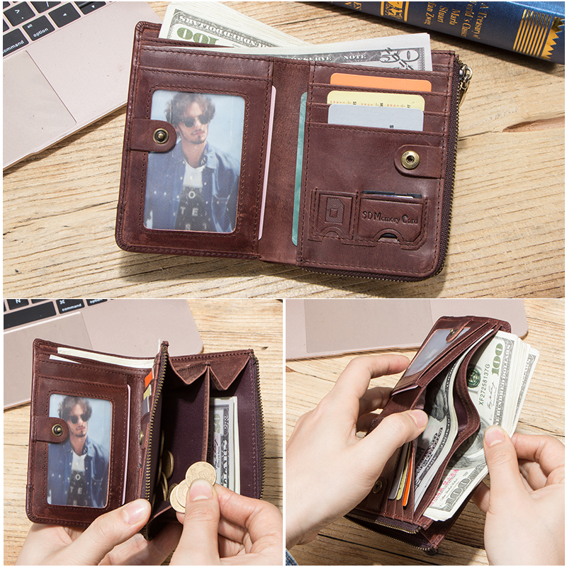 Hiram 100% Crazy Horse Leather Men Wallet Coin Purse Small Card Holder Money Bag Male RFID Wallets Vintage Cartera DIY Customize