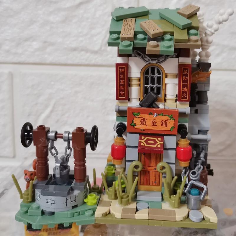 LOZ 1725 Architecture Street Chinatown Blacksmith Shop Mini Blocks Building Toy