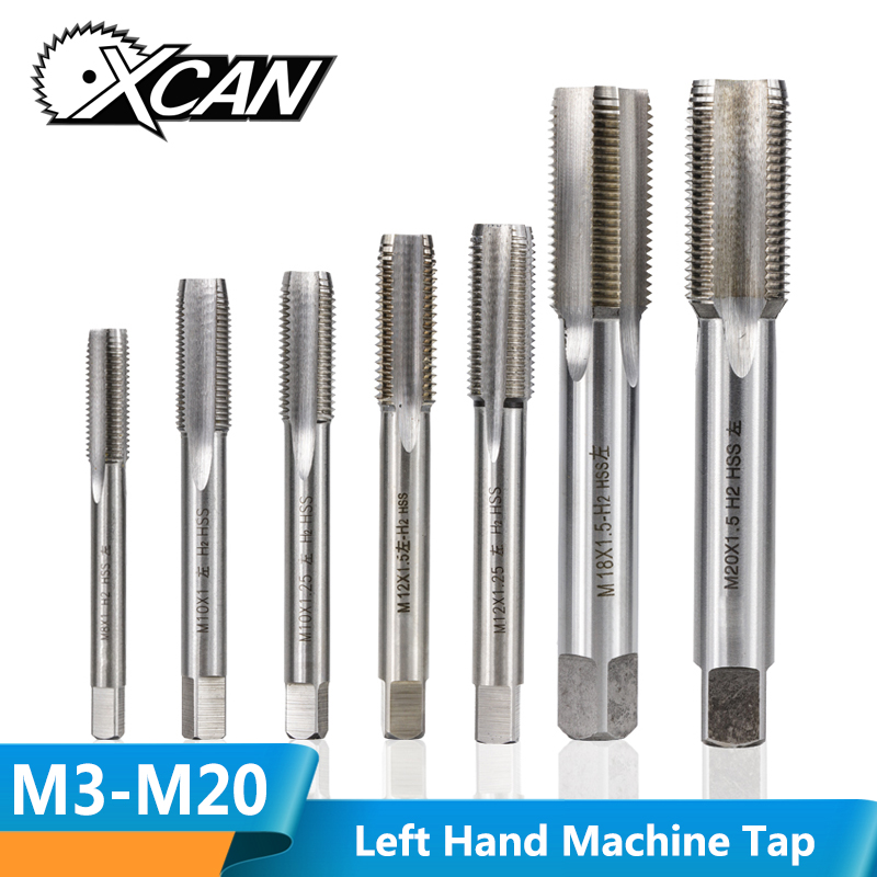 XCAN 1pc M3-M20 Left Hand Machine Thread Tap HSS Steel Machine Plug Tap Metal Screw Hole Tap Drill Metric Screw Thread Tap