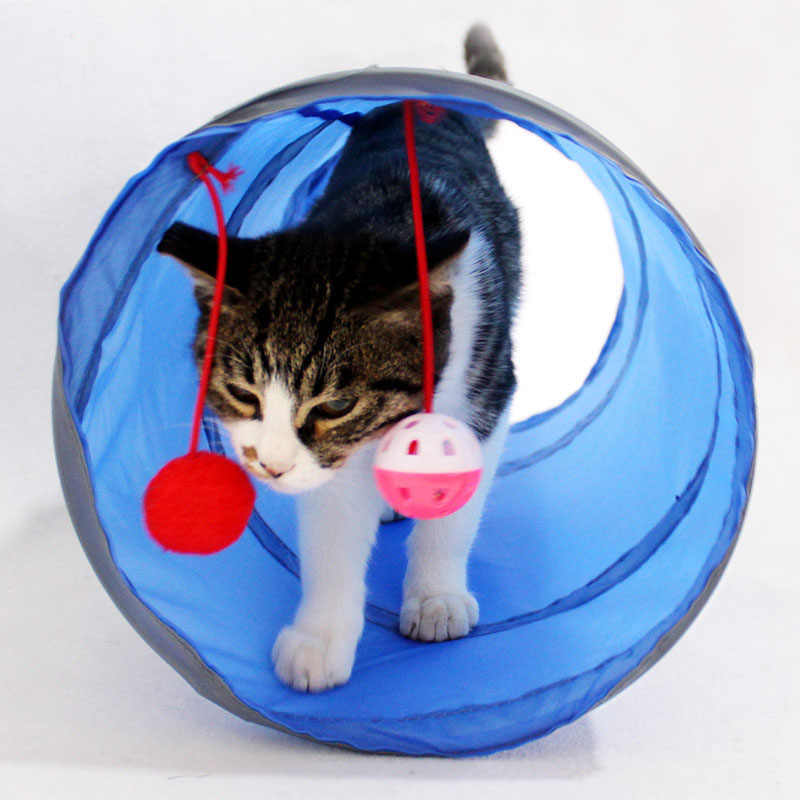 애완 동물 터널 재미 있은 고양이 터널 2 구멍 놀이 튜브 공 collapsible crinkle 새끼 고양이 장난감 강아지 흰 족제비 토끼 놀이 개 터널 튜브