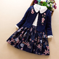 Kids Girls Clothing set 2019 autumn winter new Baby girl embroidered cotton sweater coat+dress 2Pcs little girl princess clothes