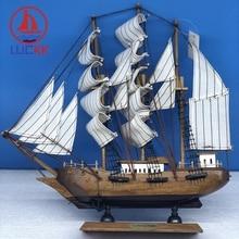 LUCKK 33CM Nautical Vintage Manual Ship Figurine Ornament Wooden Retro Crafts Sailing Model Home Office Desktop Decor Furniture