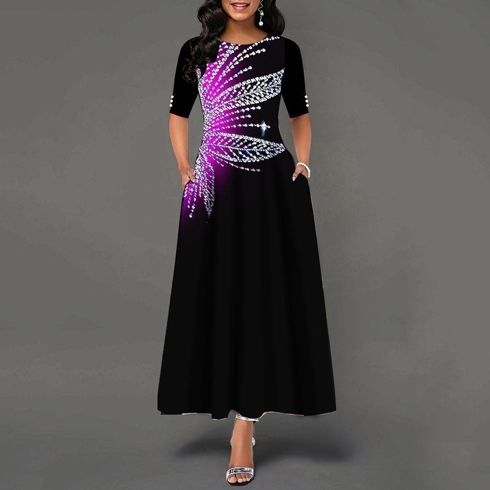 Women Round Neck Tunic Maxi Dress Half Sleeve Button Vintage African Print