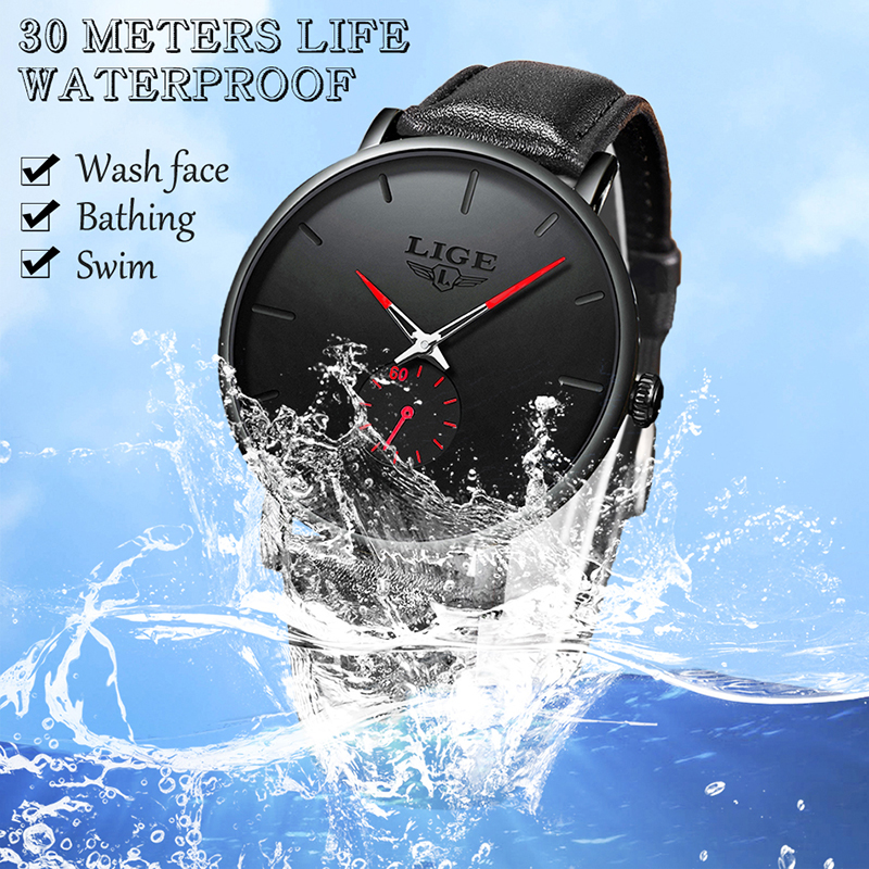 Image 2 - 2019 Fashion Silple Thin Watch For Mens Watches Top Brand Luxury Male Casual Leather Waterproof Quartz Clock Relogio Masculino-in Quartz Watches from Watches