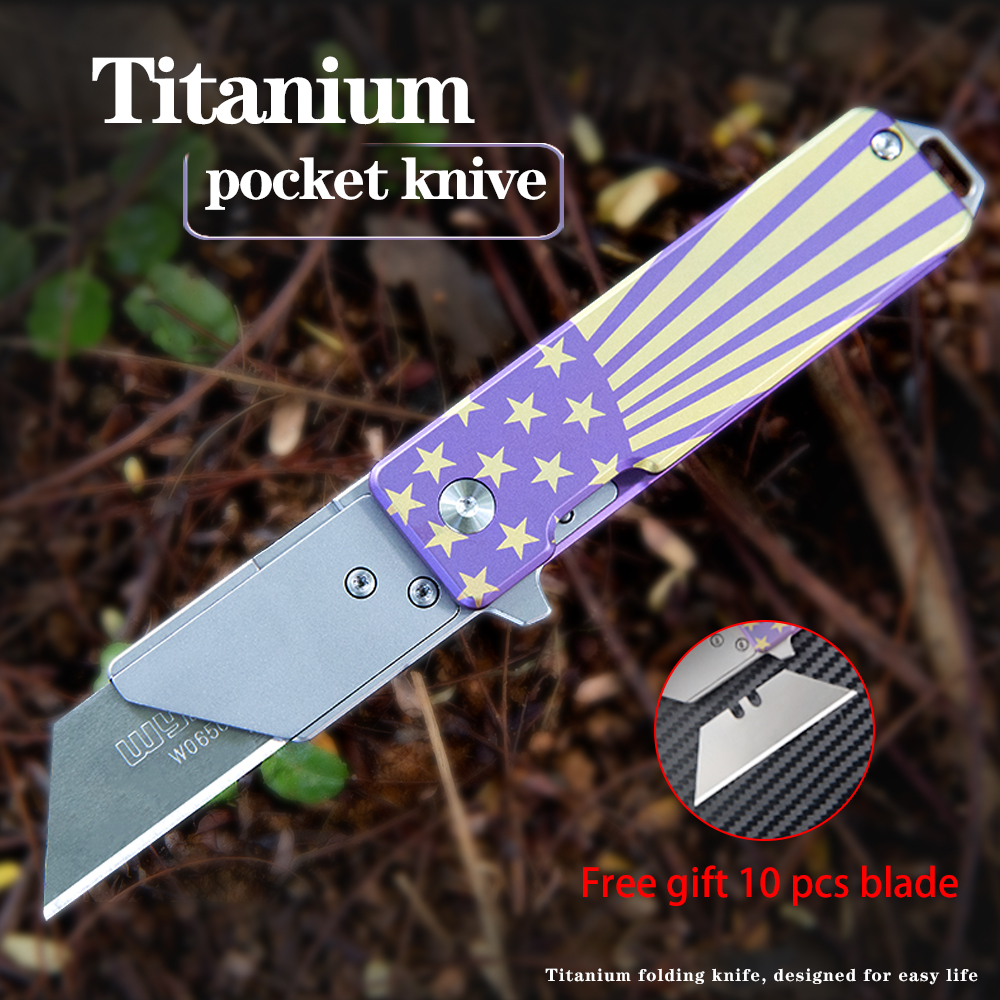 Titanium alloy folding knife quick change blades pocket knife Cutting tools Outdoor gadget in need of a reliable EDC
