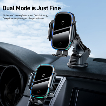 Baseus 15W Wireless Car Charger for IPhone 11 Pro Samsaung Fast Wireless Charging Intelligent Infrared Qi Wireless Charger 1