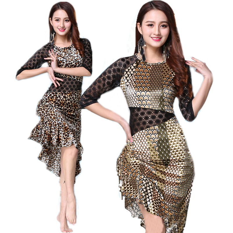 Leopard Grain Latin Dance Latin Dance Dress For Women Lady International Standard Latin Dancing Dresses Ballroom Cha Cha Salsa
