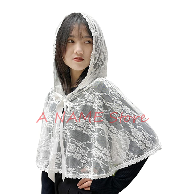 Church Veils Mantilla Catholic Chapel Veil HeadCovering Cape Cloak Embroidery Lace For Women Handkerchief Barinia Ribbon Tie