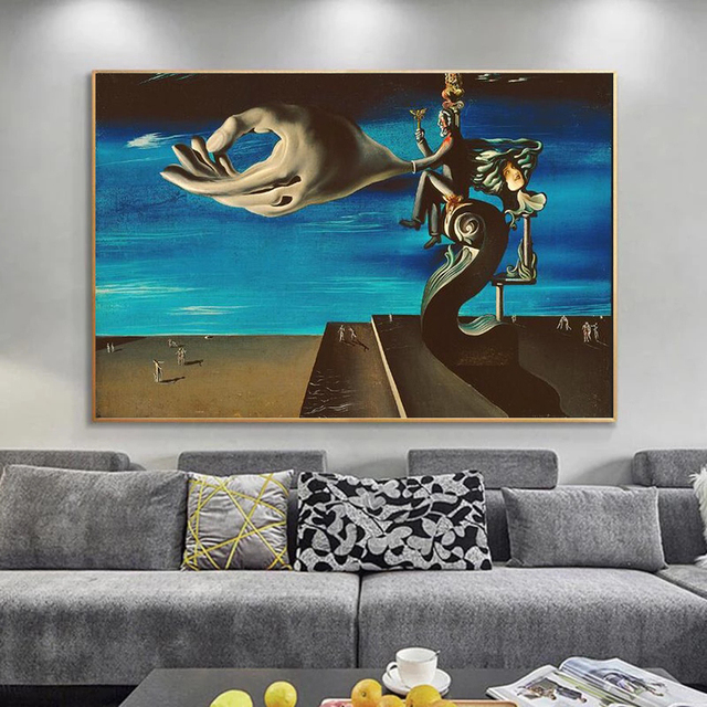 Surrealism Canvas Painting The Hand By Salvador Dali Famous Poster Print Wall Art Picture for Living Room Home Wall Decor Cuadro 1